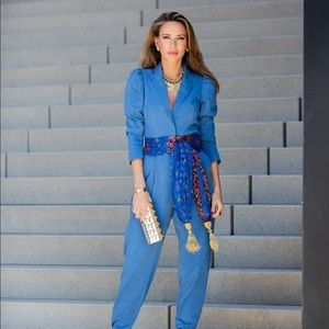 Zara long belted jumpsuit bloggers favorite